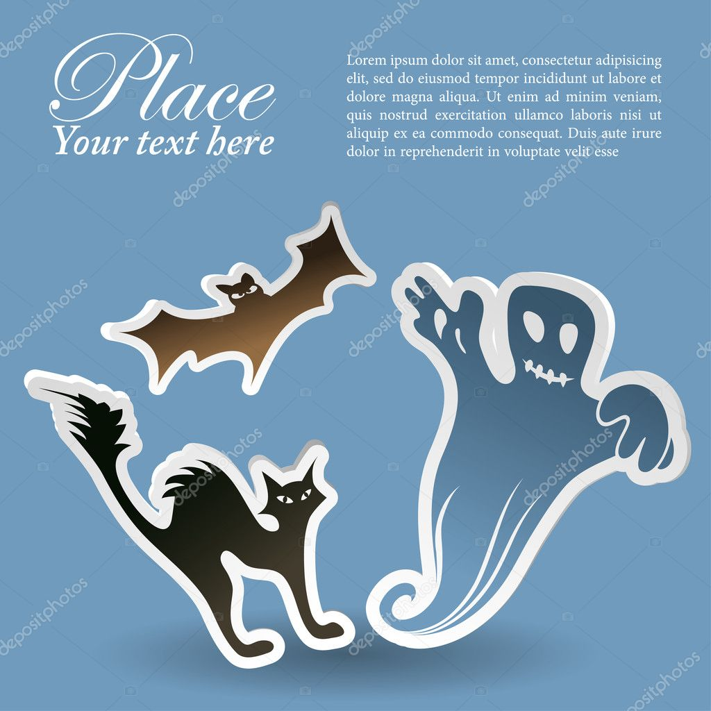 Halloween sticker with ghost, bat, element for design, vector illustration — Stock Vector #6697752