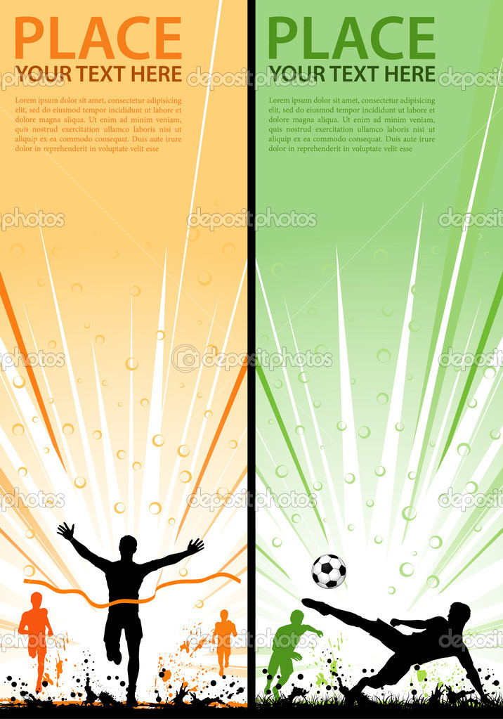 Collect grunge sport flyer with Soccer Player and Winner Man, element for design, vector illustration  Stock Vector #6698985