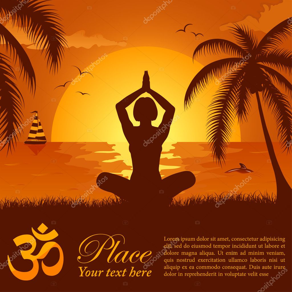 Silhouette of a Girl in Yoga pose on Summer background with palm tree, dolphin and yacht, element for design, vector illustration  Stock Vector #6699028