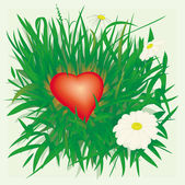 Lonely heart in grass — Stock Vector