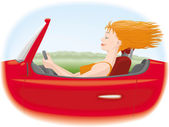 Woman in car — Stock Vector