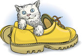 Kitten in boot — Stock Vector