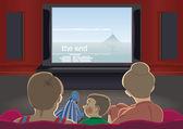 Family watch TV — Stock Vector