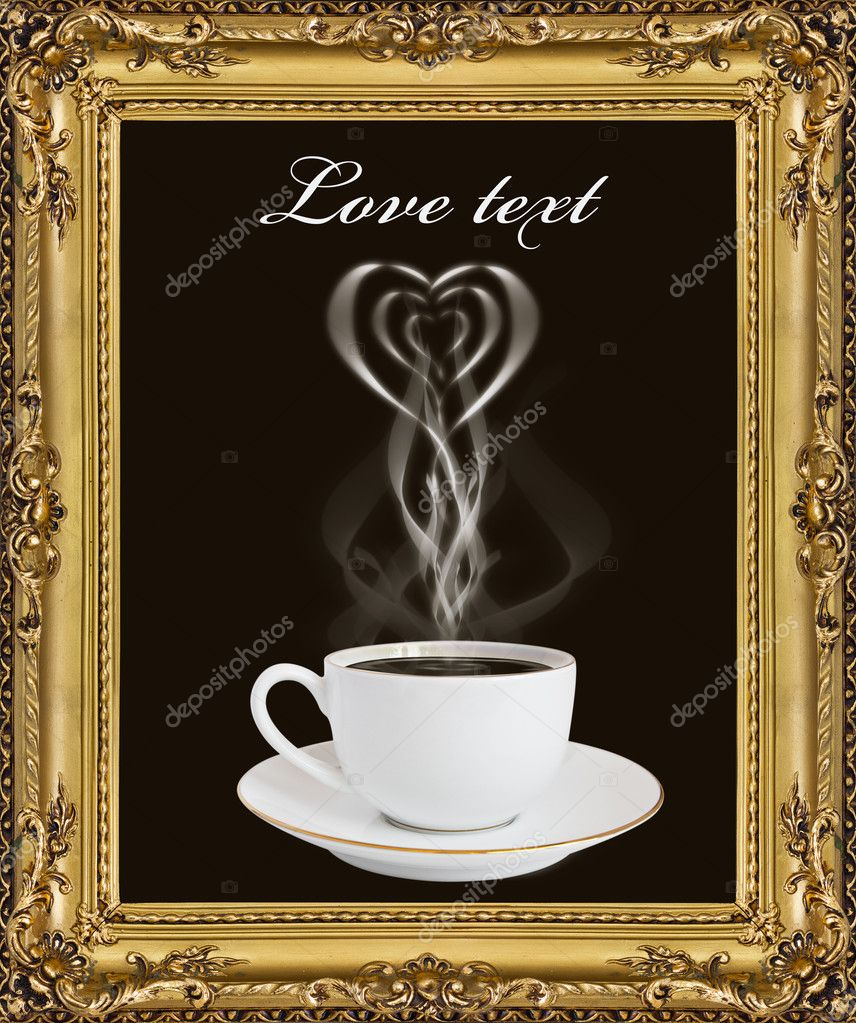 A cup of hot coffee and a smoke in the frame  Stock Photo #6684797
