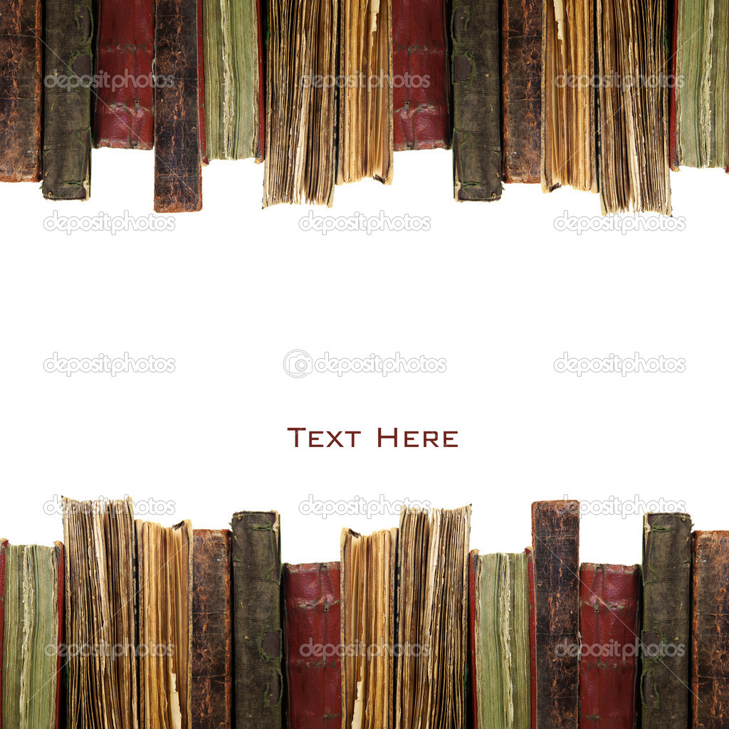 Old books in a row isolated on white background — Stock Photo #6692312
