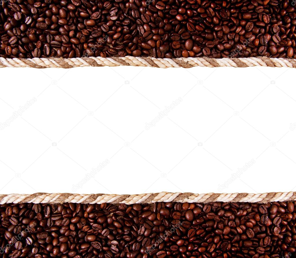 Frame from coffee beans isolated on white background — Stock Photo #6692990