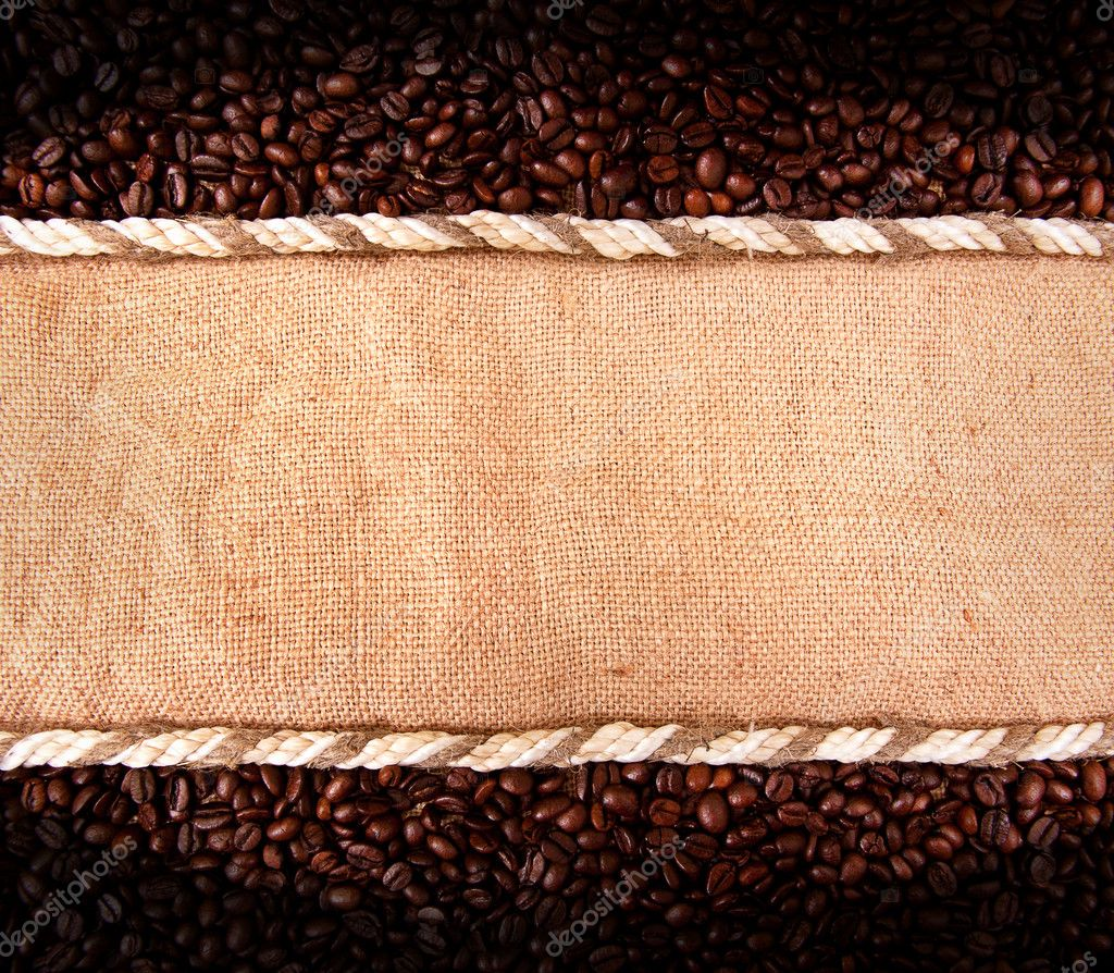 Coffee beans on burlap  Stock Photo #6693015