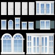 Stock Vector: Window and door