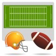 American football field, ball and helmet — Stock Vector