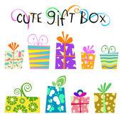 Cute gift box — Stock Vector