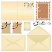 Postcard and stamps — Stock Vector