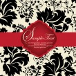 INVITATION CARD ON FLORAL BACKGROUND — Imagens vectoriais em stock