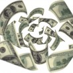 Hundred dollar bills falling — Stock Photo