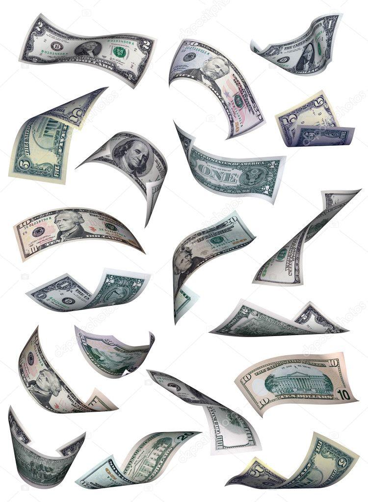 dollar bills falling on - photo #14