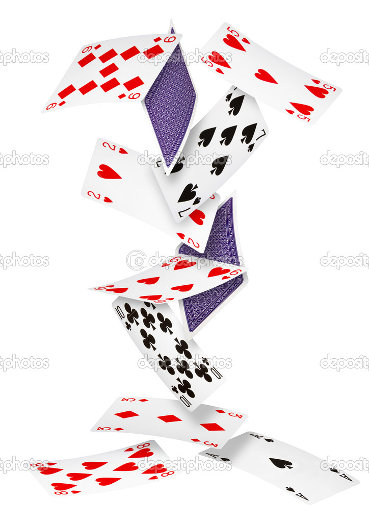 Playing cards falling down on white background — Stock Photo #6728856