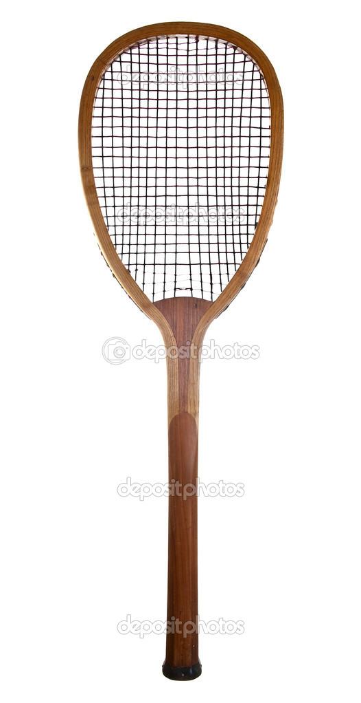Old wooden tennis racket isolated on a white background.  — Stock Photo #6728920