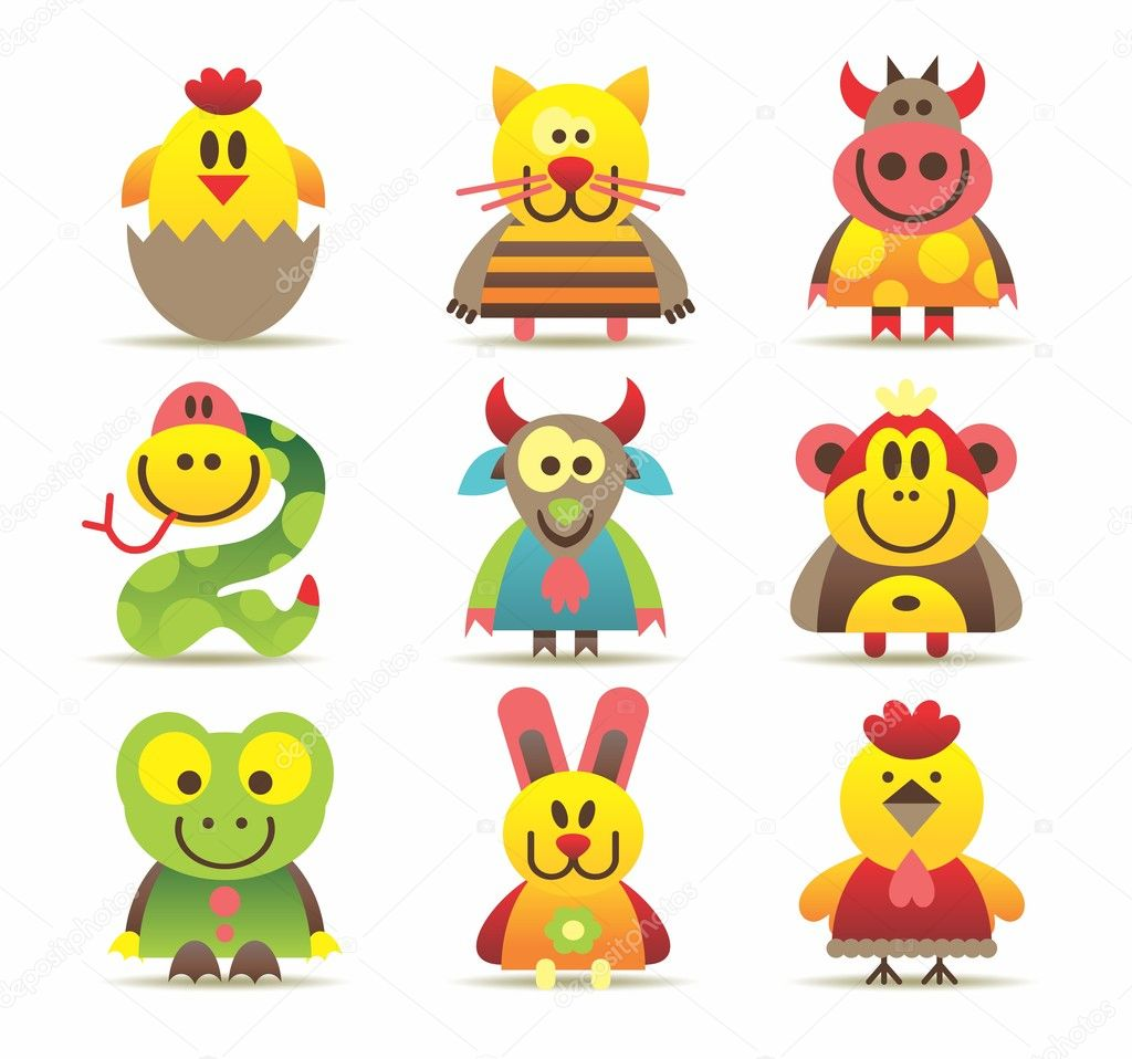 Beautiful icons of animals — Stock Vector #6721492