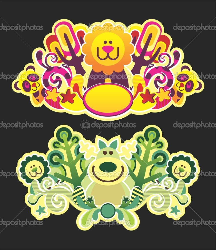 Beautiful natural composition of animals and trees  Stock Vector #6721508