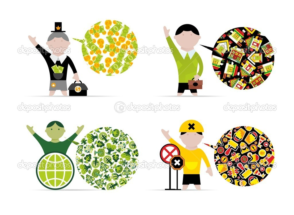 Colored icons with experts — Stock Vector #6722235