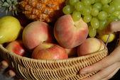 Fruits peach apple — Stock Photo