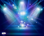 Magic Spotlights with Blue Violet rays — Stock Vector