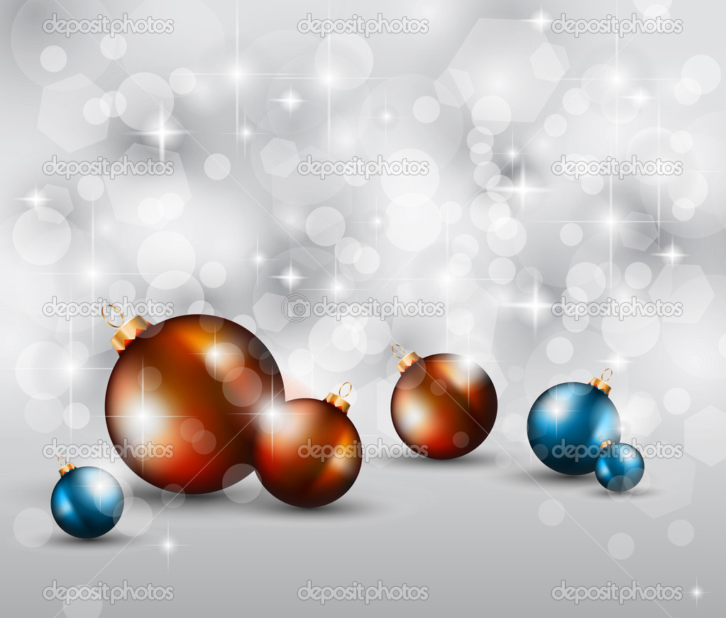 Merry Christmas Elegant Suggestive Background for Greetings Card with glitter lights and stunning baubles. — Stock Vector #6675486