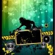 Disco Event Poster with a Disk Jockey — Stock Vector #6707871