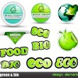 Eco & Green Bio set of stickers — Stock Vector