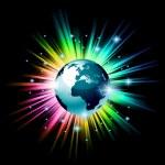 Globe 3D illustration with a rainbow light explosion — Stock Vector