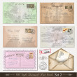 Old style distressed postcards (set 2) - Stok Vektör