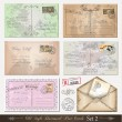 Stock Vector: Old style distressed postcards (set 2)
