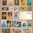Collection of Vintage Postage Stamps - Stok Vektr