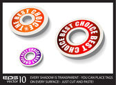 Red Paper Circular Style tags — Stockvector