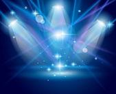 Projecteurs magiques avec les rayons bleus et effet brillant — Vecteur