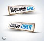 'Become a Fan' social themes 3D Panels — Stock Vector