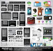 Coleção de extrema da web coisas preto — Vetorial Stock