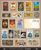 Collection of Vintage Postage Stamps — Stock Vector