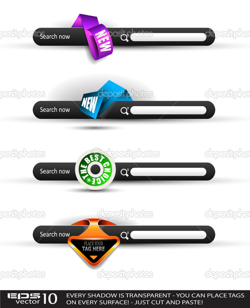 Set of modern original style search banners with various label tags for your text. Shadows are all transparents so you can place it on every surface. — Stock Vector #6706907