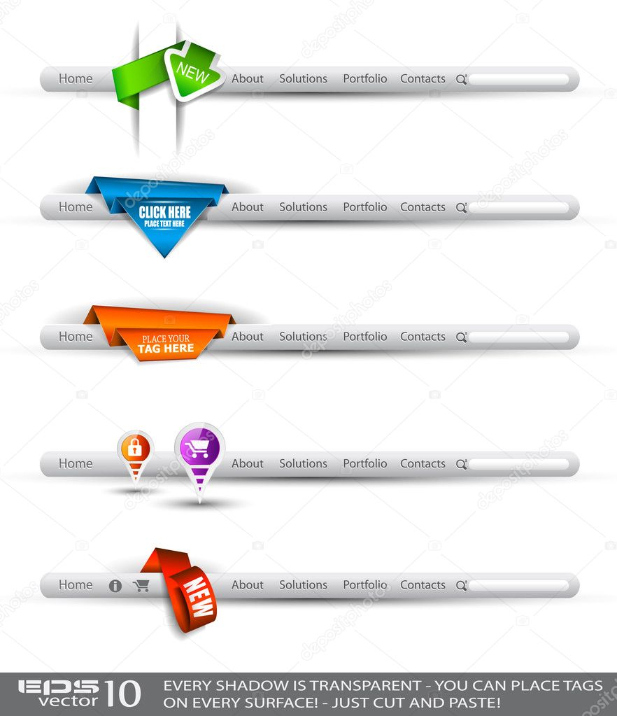 Set of modern original style search banners and web headers with various label tags for your text. Shadows are all transparents so you can place it on every sur — Stock Vector #6707097