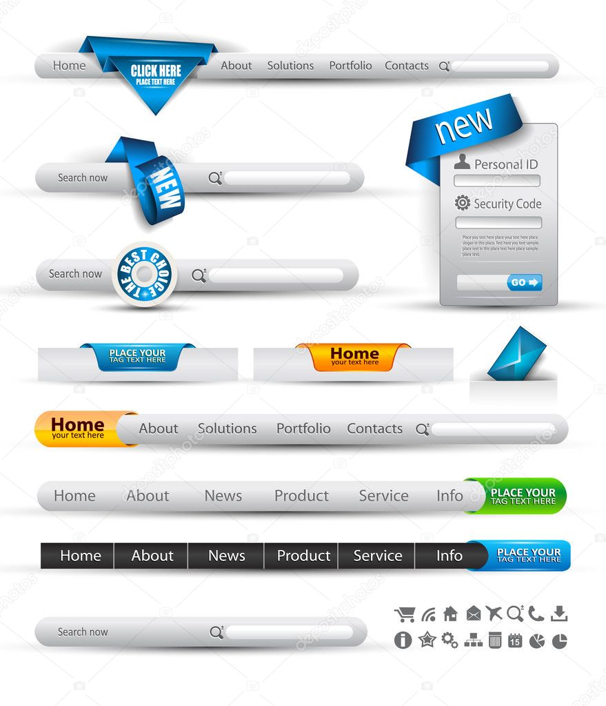 Set of modern original style search banners and web headers with various label tags for your text. Shadows are all transparents so you can place it on every sur  Stock Vector #6707204