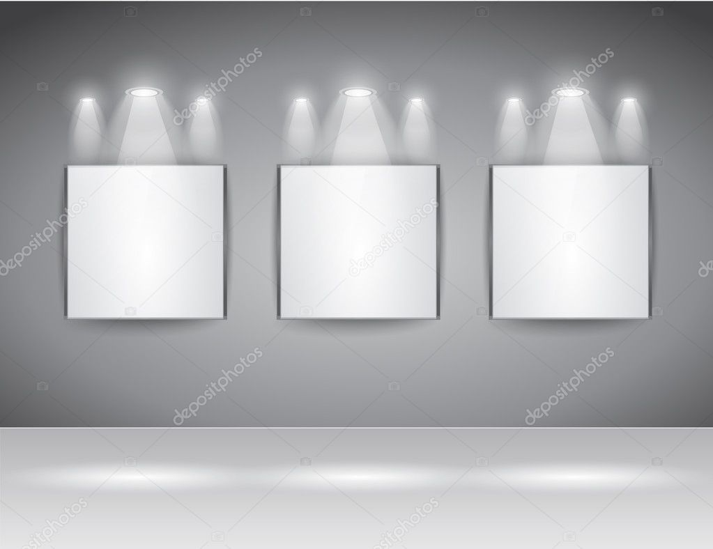 ShowRoom Panel for slogan exposition or advertising of object or to use like an intro webpage for website modern project. — Stock Vector #6707764