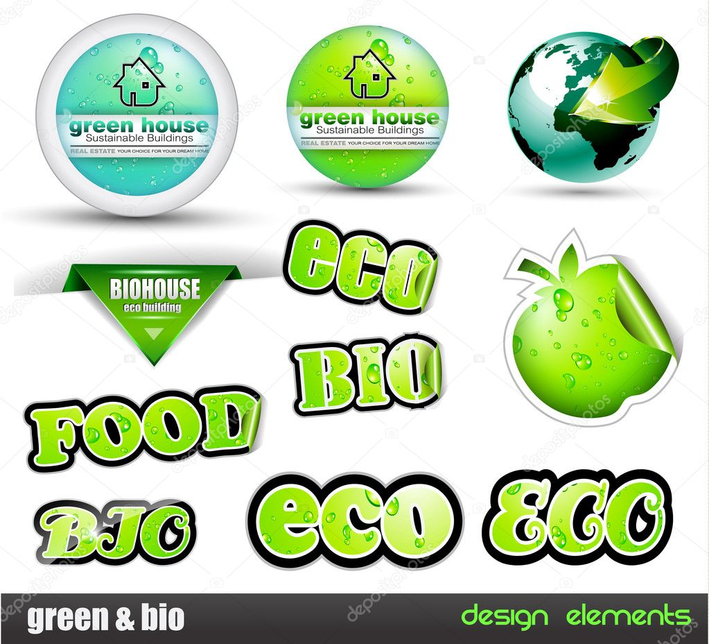 Eco & Green Bio set of stickers with different type of ecology design elements included a real estate circular panel.  Stock Vector #6708139