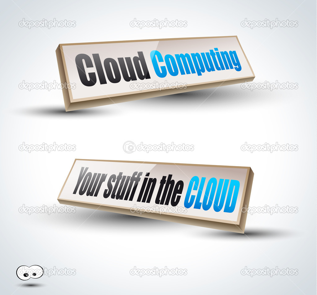Clouds Computing 3D Panels with Transparent Shadows and glossy reflection. Ready to copy and past on every surface. — Stock Vector #6709012