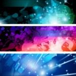 Flow of lights header backgrounds — Stock Vector