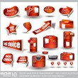 Big set of red sale and advertisement labels — Stock Vector #6712100