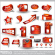 Big set of red sale and advertisement labels — Stock Vector