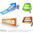 Set of &quot;Best Choice&quot; speech bubble sticker with transparent shadows - Stok Vektr