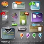 verzameling van verschillende ontwerpelementen voor web — Stockvector