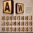 Vintage Domino Style Alphabet 3D - Stock Vector