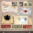Vintage Postage Design Elements - Stok Vektr